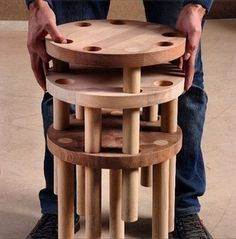 Tri-O Tabure/Sehpa / RON (Republic of Narcist) / Milad Hajiamiri Woodworking Toys, Woodworking Furniture, Wood Furniture, Woodworking Projects, Furniture Design, Cladding Panels, Plywood Chair, Diy Workbench, Wooden Stools