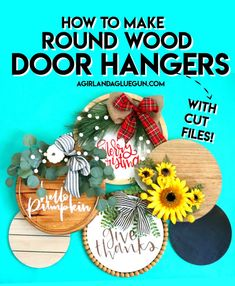 Christmas Wood, Christmas Signs, Christmas Crafts, Spring Wreaths For Front Door Diy, Pumpkin Ornament, Diy Wooden Projects, Wood Circles, Round Door, Diy Wood Signs