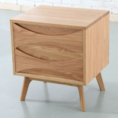 Arne Vodder 2 Drawer Bedside Table - Solid Oak - 45x55x60cm - Angled Legs