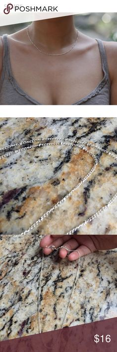 """Dainty Silver chain necklace Brand new in package , very classy and sexy , cute circle bead like design all round the necklace , adjustable back clasp , also available in gold! Length is 14.5""""-16"""" Free People Jewelry Necklaces"""