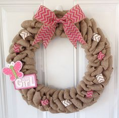It's A Girl wreath  Burlap wreath w/ hot pink by TheCraftinBear