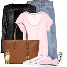 Untitled #5682 by doradabrowska on Polyvore featuring polyvore fashion style Boohoo Levi's Converse MICHAEL Michael Kors Tory Burch