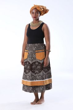 The umbhinqo kaMakoti skirt and doek set for new brides will be made in your choice of blue or brown shweshwe panels. For custom made African fashion. African Print Dresses, African Fashion Dresses, African Dress, African Prints, Fashion Outfits, Ankara Fashion, African Fabric, Pedi Traditional Attire, Traditional Outfits