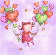 Whimsical and cute artwork with heart-shaped balloons <3