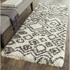 Safavieh Belize Shag Ivory/ Charcoal Rug x - 16943329 - Overstock - Great Deals on Safavieh Runner Rugs - Mobile Belize, Area Rug Sizes, Area Rugs, Shops, Rug Size Guide, Modern Style Homes, Polypropylene Rugs, Room Dimensions, Fashion Room