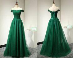 2016 Custom Charming Dark Green Prom Dress,Off the Shoulder Evening Dress,Tulle Prom Dress