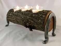 Horse Log Candle Holder