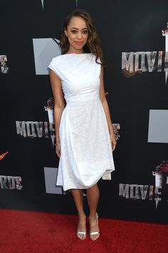 Amber-Stevens + 2014 MTV Movie Awards + Dress from Vivienne Westwood Anglomania Spring 2014 collection and Aldo heels
