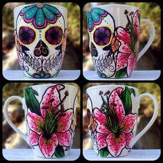 Custom Hand painted sugar skull mug (made to order)