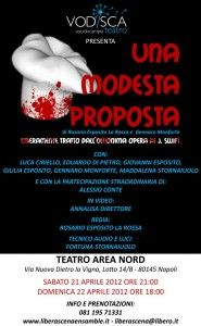 """""""Una modesta proposta"""", al Teatro Area Nord di Napoli. In scena, la compagnia Vo.di.sca. (Voci di Scampìa)"""