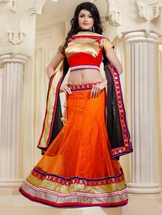 Orange Net Lehenga Choli With Zari Work www.saree.com