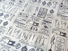 Vintage Sewing Adverts on Poplin Cotton Fabric, 110cm wide, by the FQ, Cream