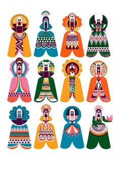 Sanna Annuka ~ Spirits of the North. Sanna Annuka is a half Finnish, half English illustrator and print maker whose work is influenced by nature and folklore. Urban Street Art, Urban Art, Pattern Illustration, Graphic Illustration, Acrylic Paintings, Art Paintings, Arte Sketchbook, Design Blog, Grafik Design