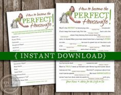 Retro Housewife Mad Libs {Bridal Shower Party Game} - Perfect Wife - Instant Download Printable DIY