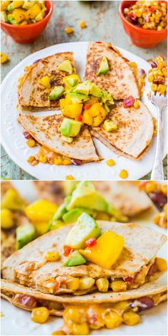 Lightened Up Corn and Bean Quesadillas with Avocado-Mango-Chipotle Salsa (vegetarian/vegan option)