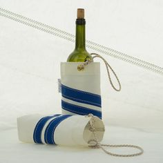 Wine Bottle Tote Sail Cloth Bag Wine Bag Sail cloth by OldeDog