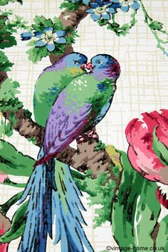 Vintage Home - Rare and Exceptional 1920s Exotic Birds Wallpaper; hand screen printed. www.vintage-home.co.uk