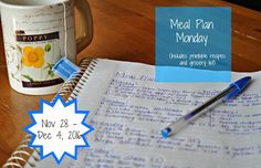 Darcie's Dishes: Meal Plan Monday: 11/28-12/4/16 ~ A one week meal plan that is 100% Trim Healthy Mama compliant. It is printable and has a printable shopping list as well.