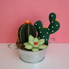 Cactus Craft, Cactus Decor, Felt Crafts, Crafts To Make, Clay Projects, Sewing Projects, Felt Succulents, Bird Houses Diy, Friendship Gifts