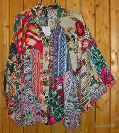 Sacred Threads Timeless Boho Kimono Bright Patch Rayon BIG TOP XL | eBay