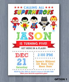 Superhero Birthday Invitation, Superhero Invitation, Avengers Invitation