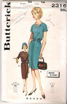 Vintage 1960's Butterick 2316 Quick 'N Easy Bloused Sheath Sewing Pattern Size 14
