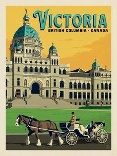 Anderson Design Group – World Travel – Canada: Victoria Poster Retro, Vintage Travel Posters, Yellowstone National Park, National Parks, Posters Canada, Party Vintage, Voyage Canada, Victoria British Columbia, Victoria Island