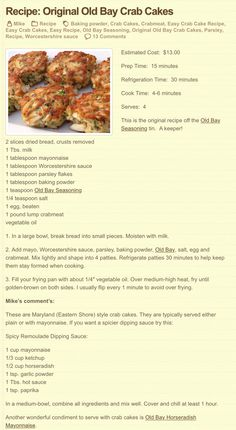 Original Old Bay Crab Cakes Substitutions- Bread for KFL breadcrumbs Keto Mayo Worcestershire for coconut aminos Crab Cake Recipes, Fish Recipes, Seafood Recipes, Cooking Recipes, Crab Cakes Recipe Best, Lump Crab Meat Recipes, Cooking Fish, Copycat Recipes, Seafood Appetizers