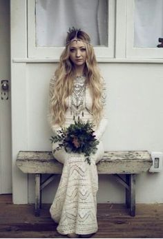 The beautiful Boho Bride ~ On the beach or in the forest, simply elegant and chic ~ Boho jewelry for the boho bride at Holly's La Bella Chic ~