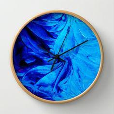 PETAL PINWHEELS - Deep Midnight Indigo Blue Royal Blue Cobalt Navy Turquoise Floral Pattern Swirls Ocean Water Waves Pinwheel Petals Flowers Decorative Peaceful Calming Cool Colors Modern Stylish Fine Art Colorful Home Decor Wall Clock by EbiEmporium - $30.00