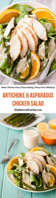 Healthy Artichoke & Asparagus Chicken Salad Recipe {Paleo, Clean Eating, Gluten Free, Dairy Free, Whole30} - I don't know what it is about the roasted asparagus and homemade mayo., but it's so, so good!