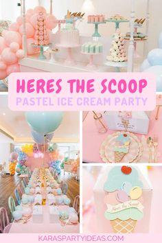 Here's the Scoop Pastel Ice Cream Party via Kara's Party Ideas – KarasPartyIdeas… – Birthday Girl Birthday Themes, First Birthday Parties, Birthday Bash, Birthday Ideas, Girl Parties, Pastell Party, Ice Cream Social, Donut Party, Party Ideas