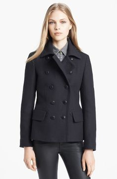 Burberry Brit Double Breasted wool-blend peacoat with tab-cuff details and pleated back at #Nordstrom