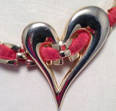 Gold Tone Heart Necklace Red Suede OOAK Re purposed by ravished, $22.00