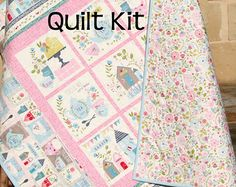Daily Deal Quilt Kit, Garden Party, Panel Stripe, Quick Easy Fun, Beginner Project, Tea Cups, Pink Blue, Little Girl Baby Nursery Crib Beddi