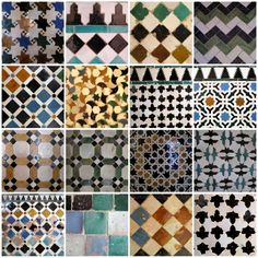 The Art of Islam - geometric tile designs from the Alhambra in Granada, Spain. Because many of the artisans and settlers who built Tetouan were from Granada, these are all very Tetouani tile patterns! Geometric Designs, Geometric Art, Tile Patterns, Pattern Art, Motif Arabesque, Islamic Tiles, Islamic Art Pattern, Spanish Tile, Granada Spain