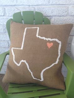 Burlap Pillow Custom City State design by TwoPeachesDesign on Etsy, $28.00
