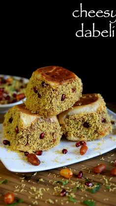 cheese dabeli recipe, kacchi cheese dabeli with dabeli masala with step by step photo/video. Pakora Recipes, Chaat Recipe, Paratha Recipes, Indian Veg Recipes, Indian Dessert Recipes, Comida India, Kitchen Recipes, Cooking Recipes, Gastronomia