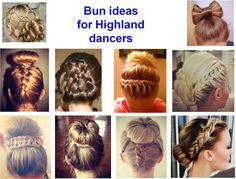 Bun hairstyle ideas for Highland dancers.