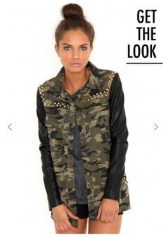 c6de1f96414 Missguided stud camo jacket with leather sleeves. Leather Sleeve Jacket