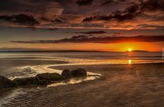 Morze, Plaża, Zachód Słońca, Niebo, Chmury, Kamienie