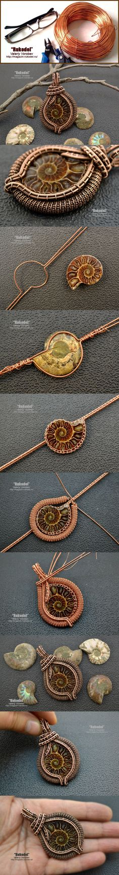 weaving around an ammonite picture tute ~ Wire Jewelry Tutorials