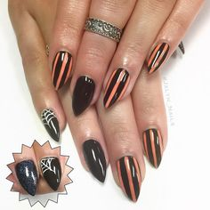 #nails #nailart #nailporn #naturalnails #stilettonails #gelmani #gelnails #Jxlyn_Nails #vegasnails #vegas #halloween #halloweennails #stripenails #spiderweb #spiderwebnails #blacknails