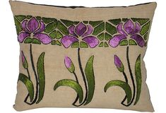Arts & Crafts Embroidered Pillow - silk embroidery on linen, raw silk back