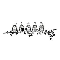 wall tattoo owls on a branch #silhouette #digistamp