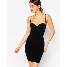 Wolford Strong Control Opaque Slip Dress (16.110 RUB) ❤ liked on Polyvore featuring dresses, black, sweetheart dress, wolford dress, bodycon dress, wolford and slip dress