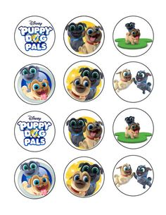Puppy Dog Pals Edible Cupcake Images Cupcake Toppers - Cakes For Cures Bingo, Puppy Care, Pet Puppy, Fondant Dog, Fondant Animals, Fondant Cupcakes, Dog Cupcakes, Edible Cupcake Toppers, Image Sheet