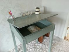 Shabby Chic School Desk - Annie Sloan Duck Egg Blue