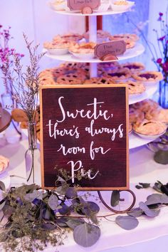 Pie Bar   Wood Sign   Dessert Bar  Cake Table   Wedding Dessert
