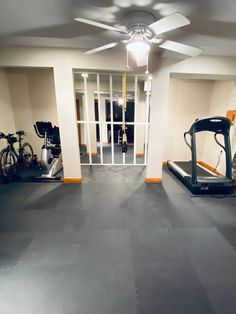 DIY Mirror Wall - Home Gym on a Dime - Tami in Between Basement Family Rooms, Home Gym Basement, Diy Home Gym, Gym Room At Home, Home Gym Decor, Home Theater Rooms, Basement Ceilings, Basement Bars, Basement Bar Designs